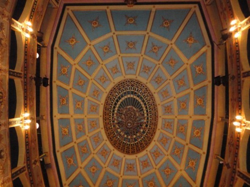 The theatre's elaborately decorated ceiling.
