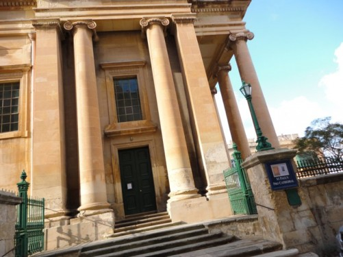 The side of St Paul's Pro-Cathedral. This is Valletta's Anglican cathedral, built between 1839-44. It is located at Independence Square.