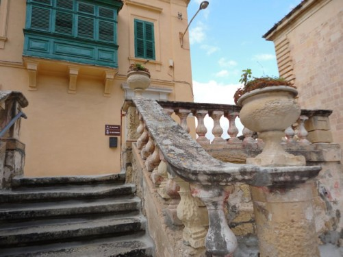 A short flight of old-looking stone steps in Valletta.