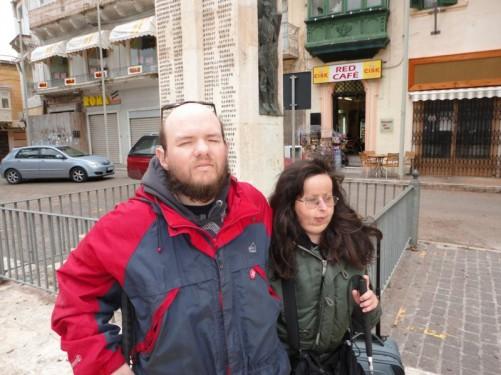 Tony and Tatiana next to the war memorial.