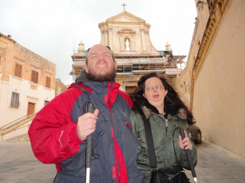 Tony and Tatiana standing in Cathedral Square, at the entrance to the Citadel in Victoria (Rabat). The cathedral is visible behind. It was built between 1697 and 1711 on the site of an earlier church.