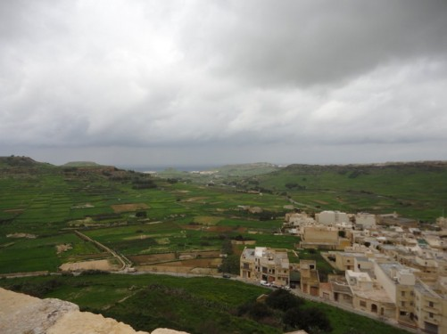 View across the countryside of Gozo from the Citadel, which is located in the centre of the island with good views in all directions. The fields look green and lush due to the winter rainfall.