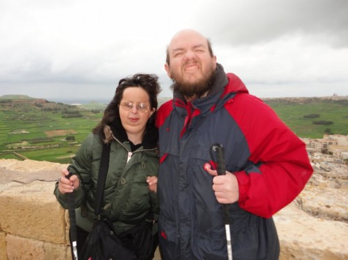 Tony and Tatiana at the Citadel. View of countryside beyond.
