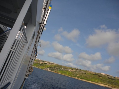 The Gozitan coastline as seen from the ferry.