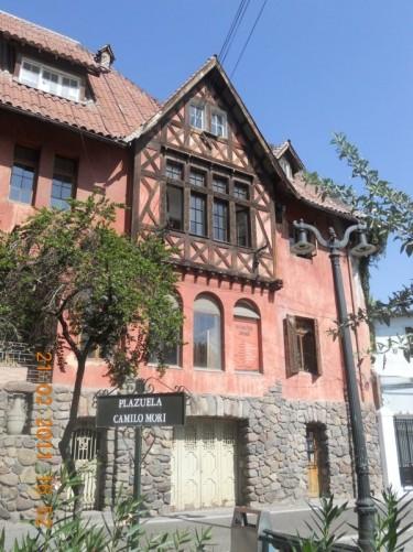The architecturally interesting La Casa Roja Lehuedé at Plaza Camilo Mori, Barrio Bellavista.