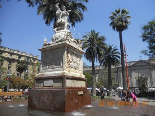 Fountain in Plaza de Armas, Santiago's main square, in the downtown Centro Histórico district.