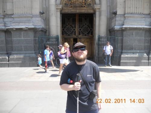 Tony outside the Metropolitan Cathedral of Santiago.