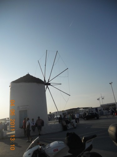 A historical windmill on the main road near the harbour.
