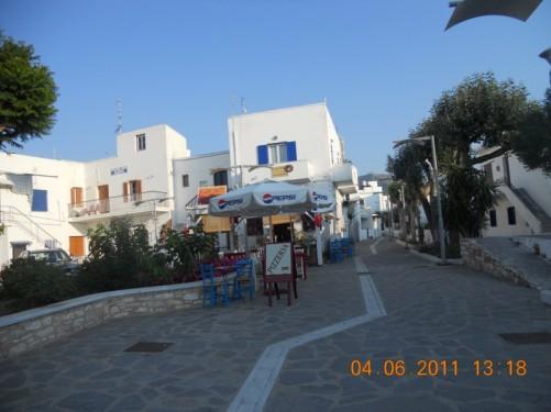A street with cafés near the harbour.