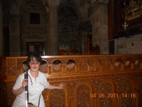 Tatiana inside the church.