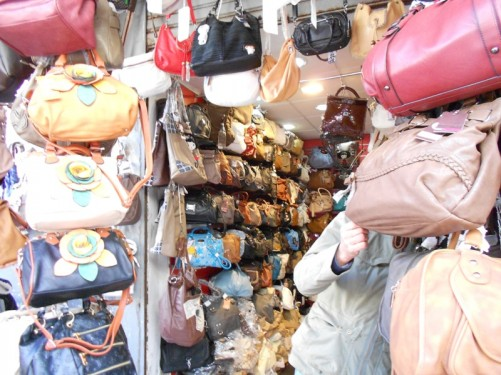 A shop selling ladies bags. The medina.