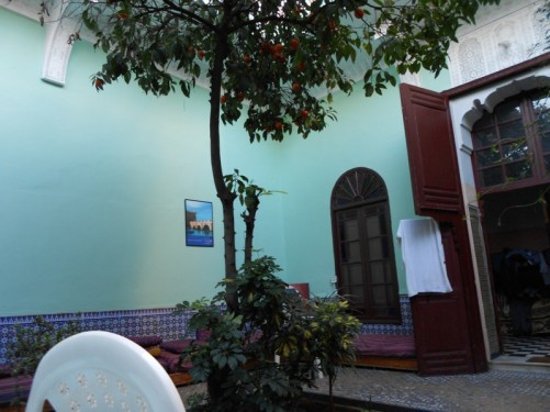 HI Rabat Hostel inner courtyard with an orange tree in the middle.