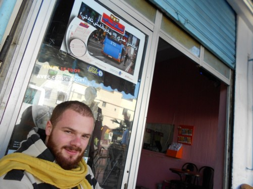 Simon from Switzerland at a café in downtown Dakhla. Tony met him during the coach journey to Dakhla.