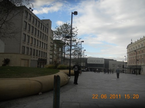 Looking across Tudor Square to the Crucible Theatre.
