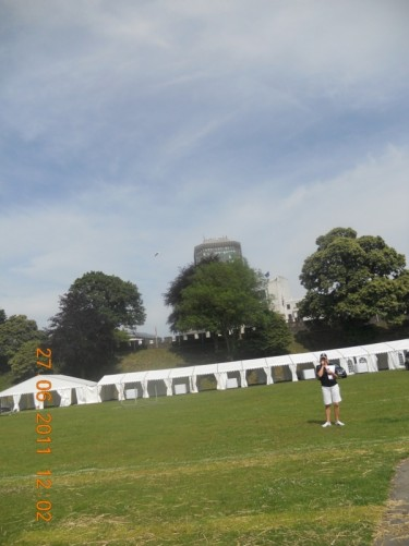 Temporary marquees in the castle grounds.