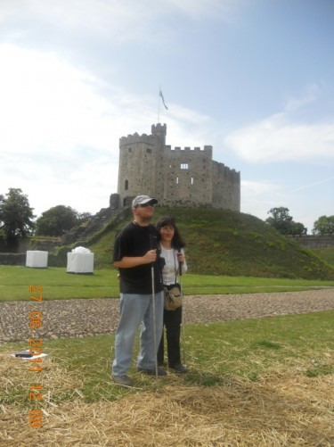 Tony and Tatiana with the Norman Keep behind.