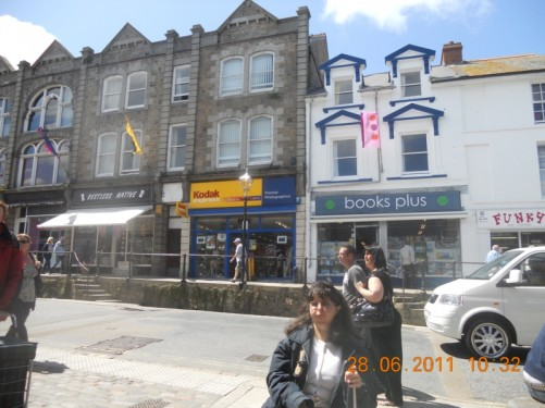 Tatiana standing on Market Jew Street, the main shopping street in Penzance.