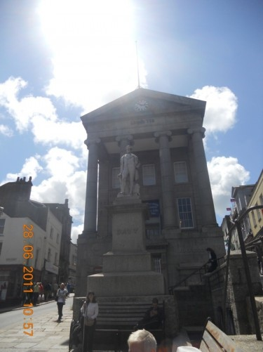 Davy statue and the Old Market House, Penzance.