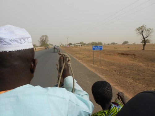 A Gambian man and boy sitting at the front of the cart guiding the donkey along the road.