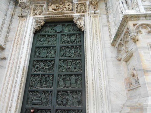 One of five massive bronze doorways into the cathedral. This one dates from the mid-20th century. It contains a number of panels containing reliefs depicting Biblical scenes.