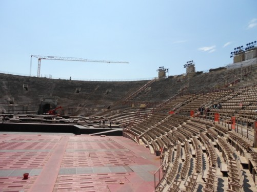 Rows of seats. Some modern seating has been installed and is used for opera performances.