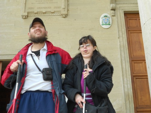Tony and Tatiana on the steps of the basilica.