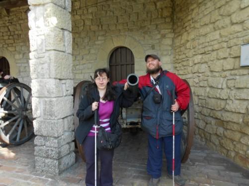 Tony and Tatiana by a canon within the fortress.