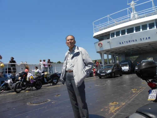 Boarding a car ferry at Piraeus port. The ferry is called the 'Katerina Star'.