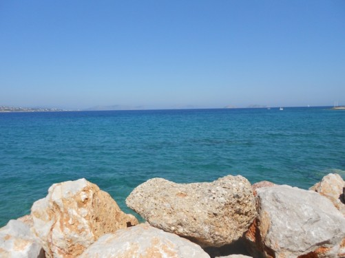 Looking out to sea. The Peloponnese, Mainland Greece away in the far distance.