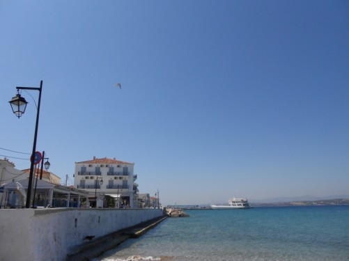 Sea front, Spetses. It's known as Dápia.