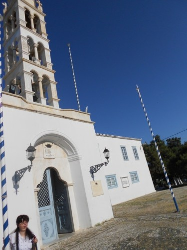 Looking up at the cathedral's bell tower.