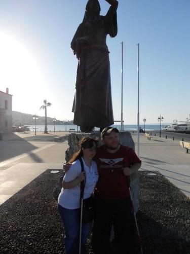 Tony and Tatiana by the Laskarina Bouboulina statue.