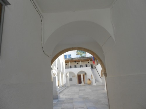 A short passageway leading to a courtyard at the cathedral. The cathedral museum is located here.