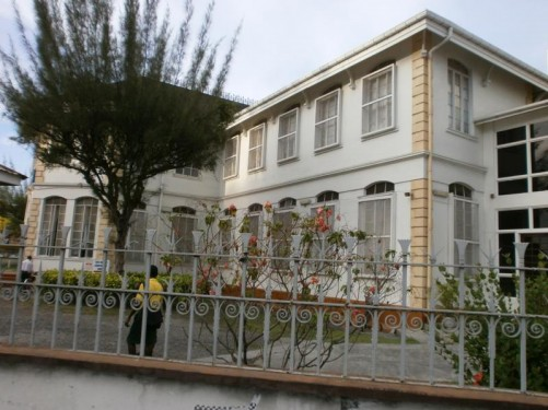 The Guyana National Library. It is located on the corner of Church Street and Main Street close to the cathedral.