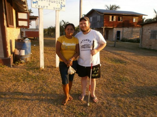 Tony and an Amerindian woman in Annai Village.