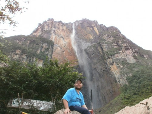 Tony at the Angel Falls view point after hiking and climbing 750 metres accompanied by a local guide. This the world's highest waterfall. It is at present about 75 percent full as it is the dry season in Venezuela.