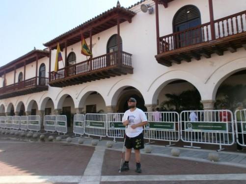 Tony outside the town hall in Plaza de la Aduana.