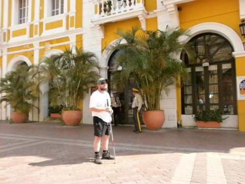 Outside Café San Pedro in Plaza de San Pedro Claver (Saint Peter Claver Square). Grand colonial-era architecture.