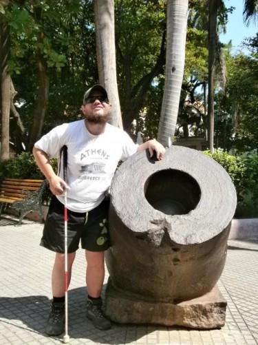Tony next to a canon again in Plaza de Bolívar.