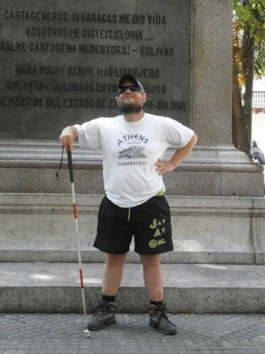 Tony at the base of the Simon Bolívar statue.
