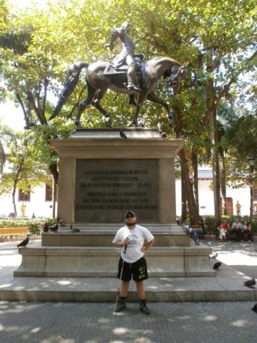 Another view of the statue of Simon Bolívar on horseback.