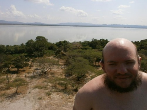 Tony at El Totumo mud volcano, an hour's drive from Cartagena. View across the lagoon that the volcano stands on the edge of.