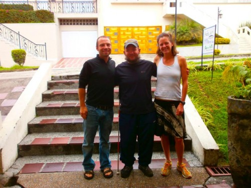 Tony with Katie and Nathan: two backpackers from Colorado, USA. Tony met them on a bus to Guatapé and they travelled together for a couple of days. Taken outside the hostel they stayed at in Manazales.