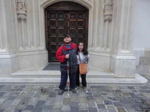 Tony and Tatiana in front of the church's door.