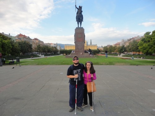 Tony and Tatiana in front of the King Tomislav statue.