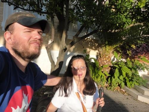 Tony and Tatiana outside the palace.