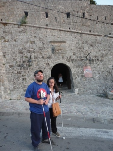 Tony and Tatiana outside the stone walls of Stari Bar (Old Bar). Stari Bar is located on a hillside a few miles from the new city of Bar.