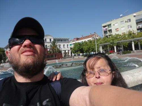 Tony and Tatiana in front of the fountain.