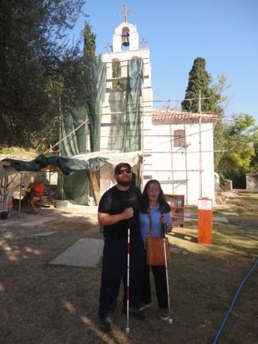 Tony and Tatiana in front of the church.