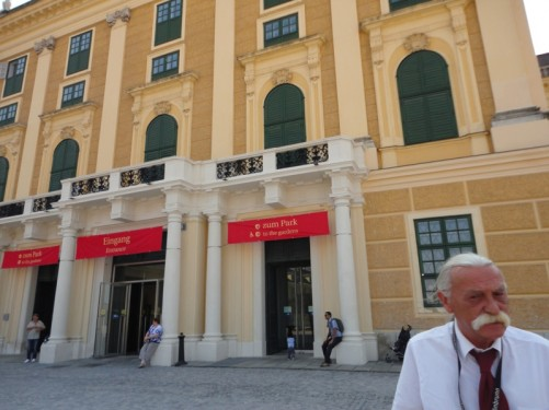 At the tourist entrance into the palace. The gentleman in the foreground is a staff member.